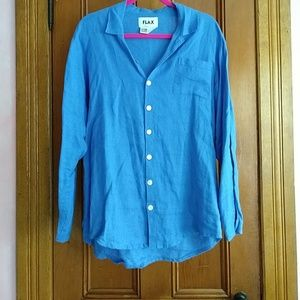 Petite Flax long sleeve linen shirt